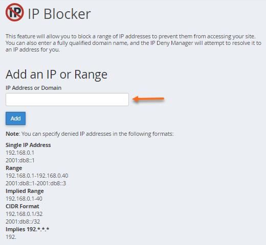 HostGator Block an IP address section