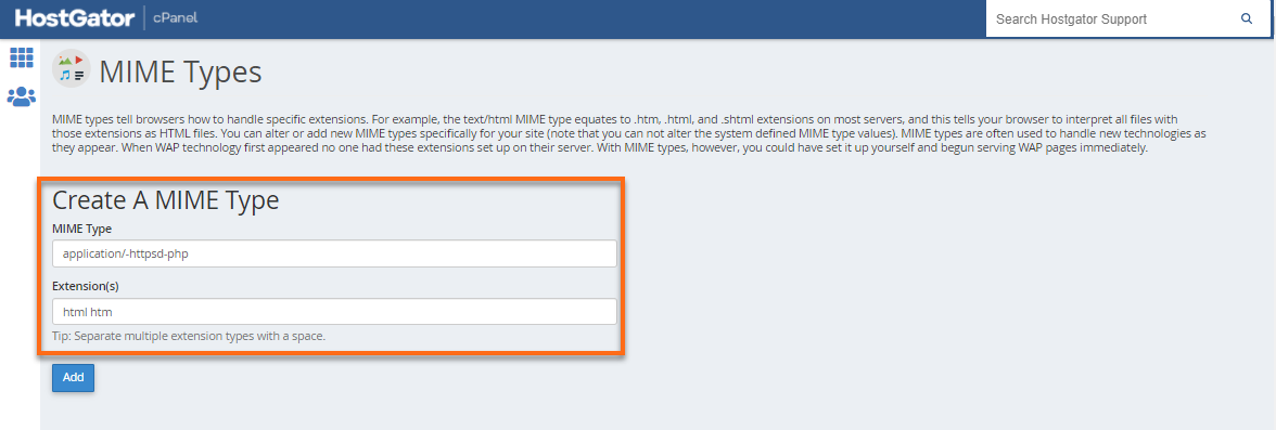 MIME types page