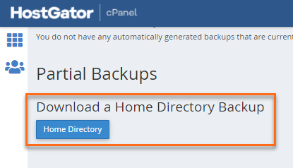 cPanel Partial Backups