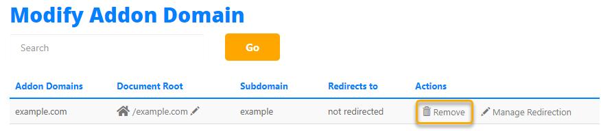 Hostgator cPanel remove addon domain