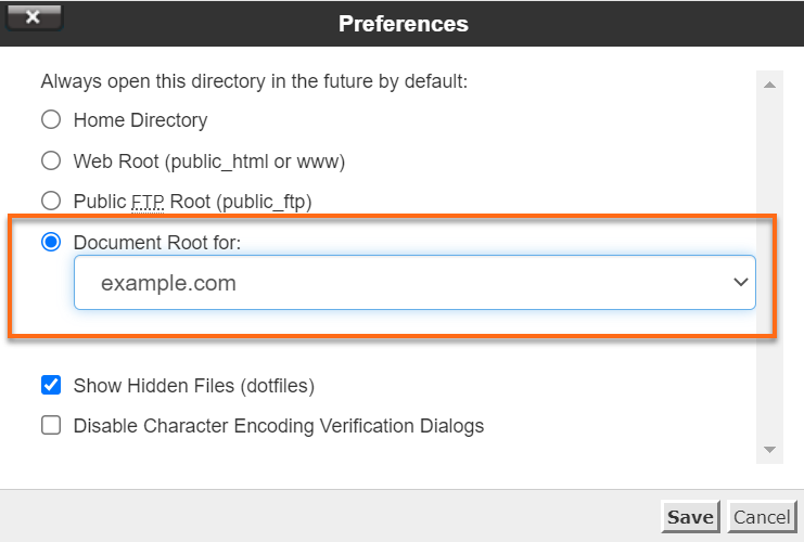 cPanel Document Root
