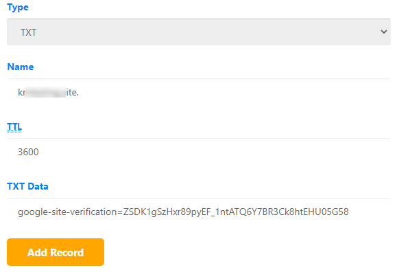 cPanel TXT Record with Google Verification Code