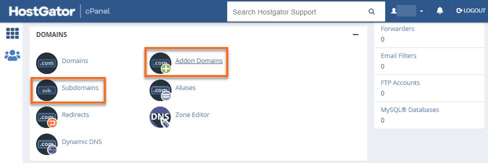 HostGator cPanel Domains Section