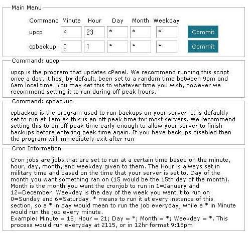 Configure cPanel Cron Times Main Menu