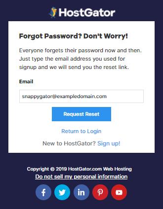 Hostgator Customer Portal Request Reset