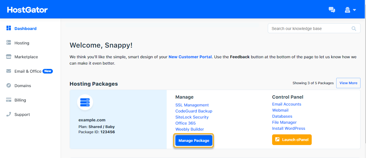 Customer Portal - Manage Package