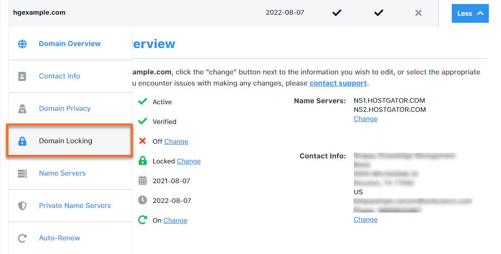 HostGator Customer Portal Domains Locking