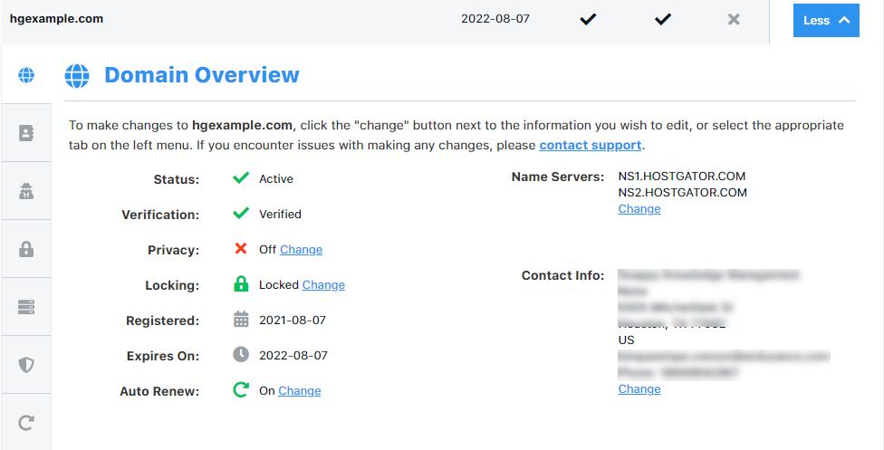 HostGator Customer Portal Domains Overview