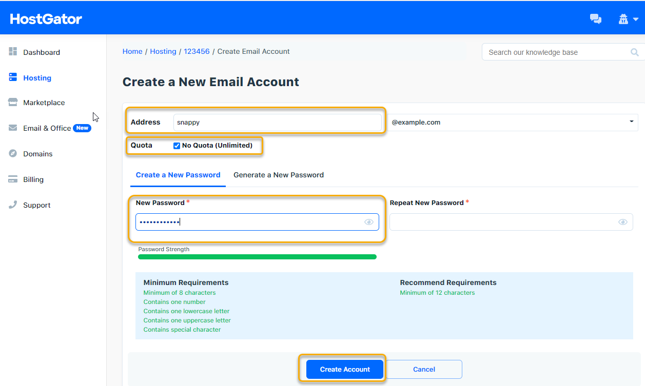 Create a New Email Account Section
