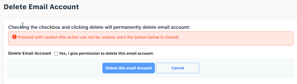 Delete email account confirmation