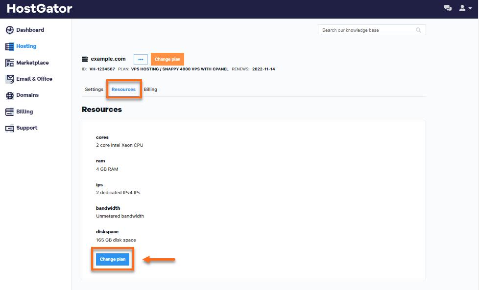 HostGator Customer Portal Resources Tab