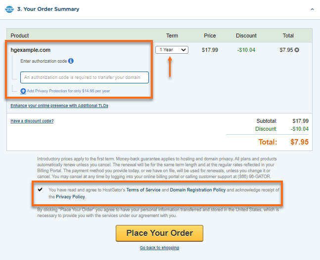 Your Order Summary