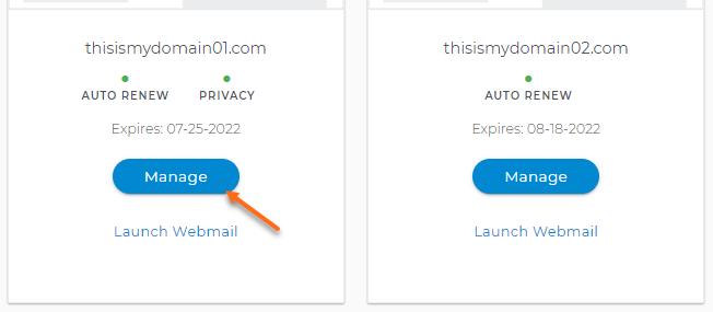 Domain Dashboard - Card View