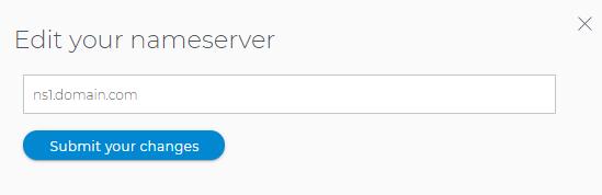 Domains Dashboard - Edit name servers