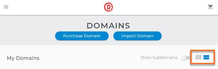 Domains Dashboard - Views
