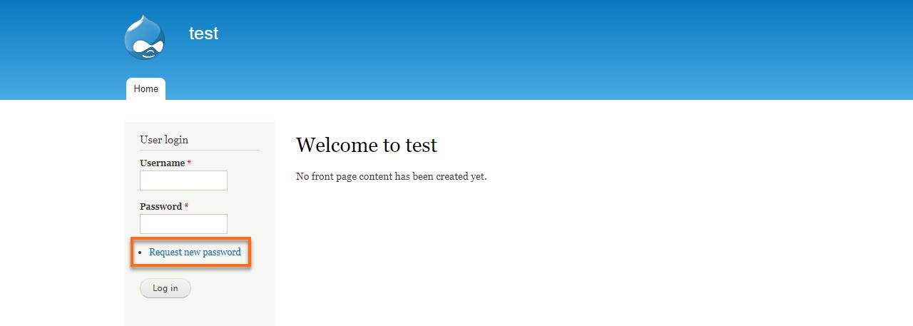 Drupal Request new password