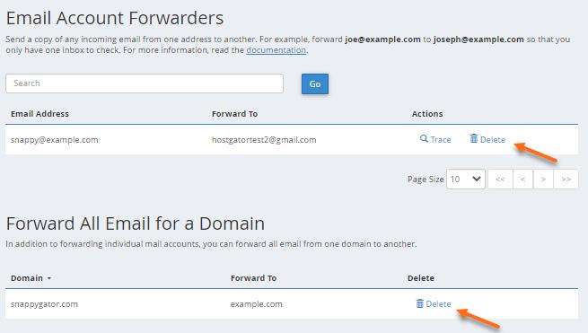 cPanel - Delete Forwarder