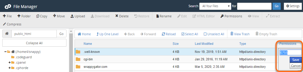 HostGator cPanel Change File Permissions