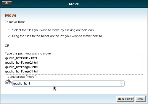 File Manager - Move File Popup