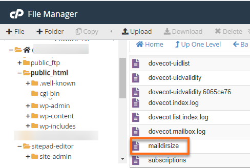 maildirsize folder