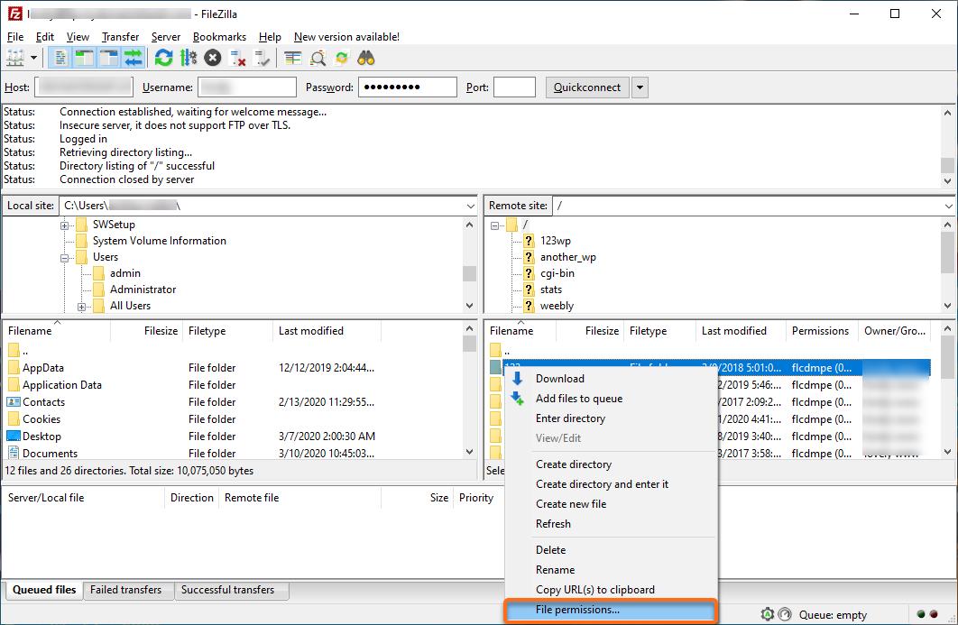 HostGator FTP File Permissions