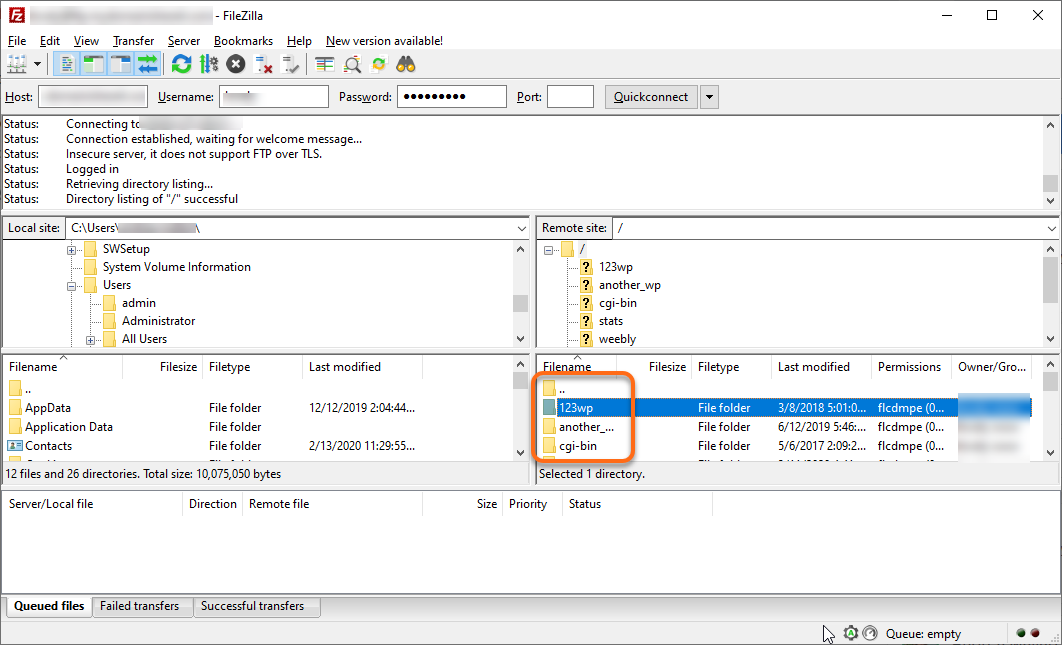 HostGator FTP Right-Click File