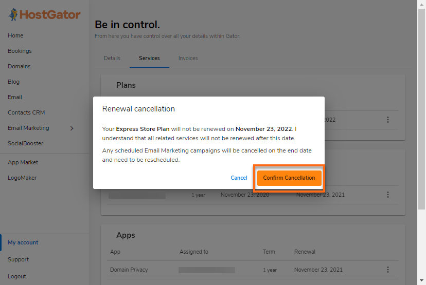 Gator Account My Account Services Kebab Do Not Renew Confirm Cancel