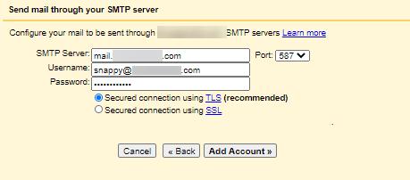 Gmailify - Settings - Add SMTP