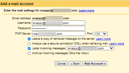 Gmailify-Add Email Account - Recommended Settings