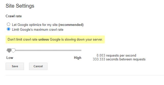 Google Crawl Rate Options
