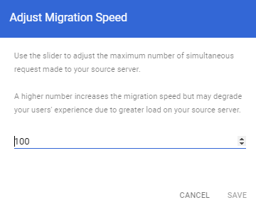 Google Workspace - Adjust Migration Speed