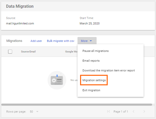 Google Workspace - Email Migration - Migration Settings