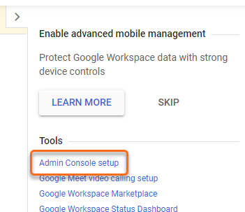 Google Workspace Admin Console Setup Wizard