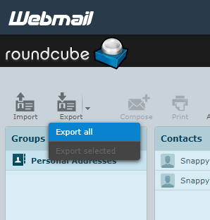 HostGator Roundcube Export Options