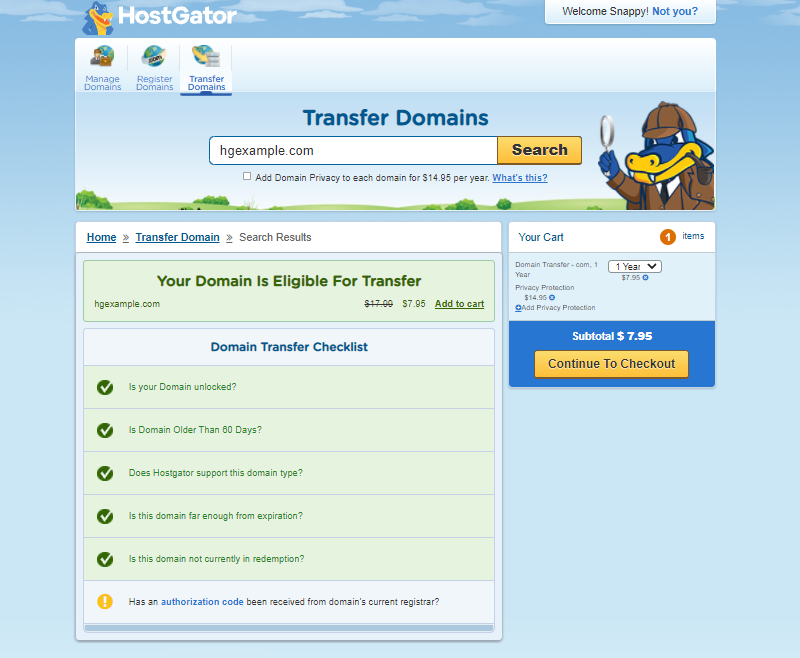 Check Domains to be Transferred