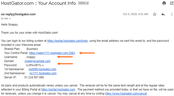 HostGator - Welcome Email