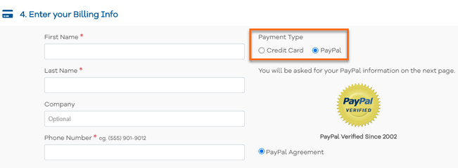 HostGator Checkout - Select Payment Type - PayPal Selected