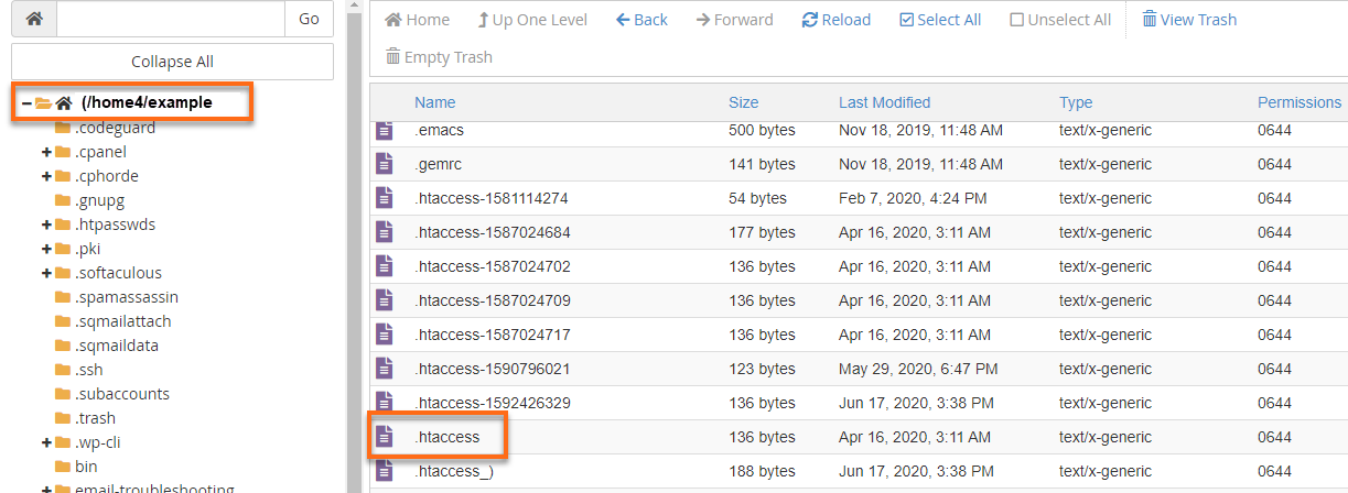 HostGator cPanel File Manager - Root Directory - .htaccess file