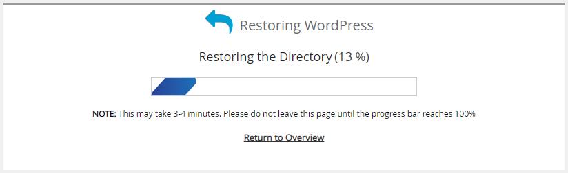 Softaculous Apps Installer - Restore Backup Progress Bar