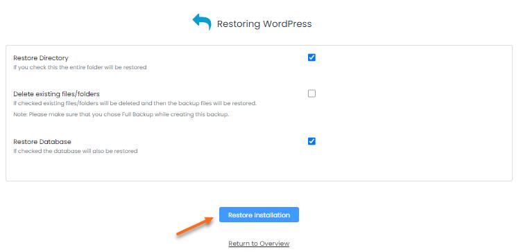 Softaculous Apps Installer - Restore Backup Options
