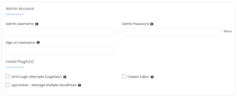 HostGator Softaculous Installation Details - Admin Account Settings