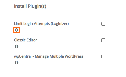 HostGator Softaculous Installation Details - Install Plugin(s) Settings