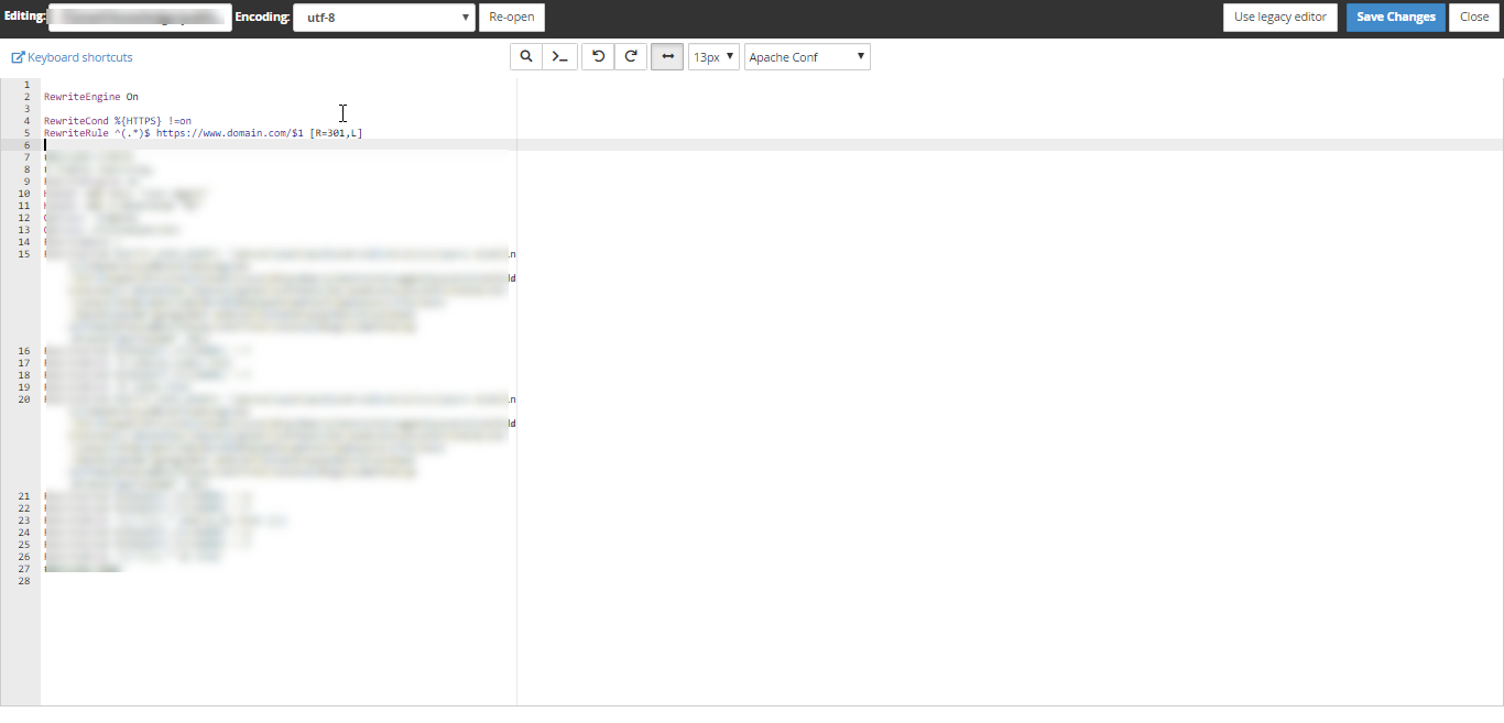 HostGator - cPanel - File Manager - .htaccess File - Edit Code