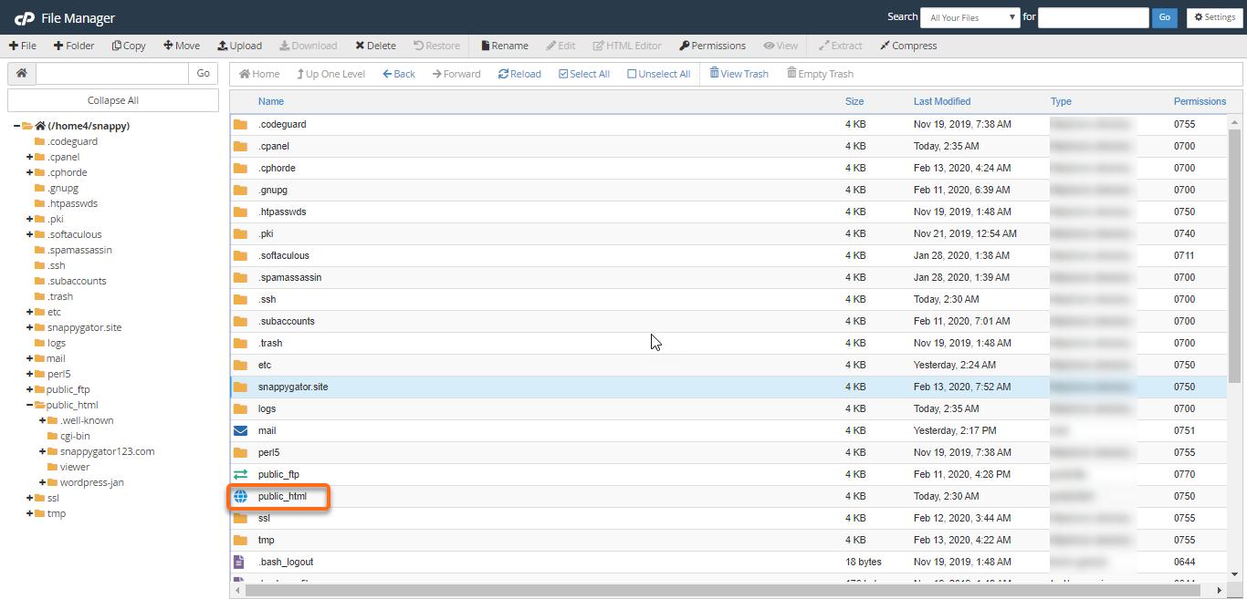HostGator - cPanel - File Manager - public_html Folder