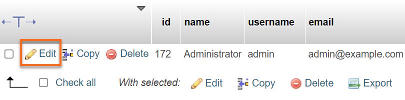 Edit Joomla User