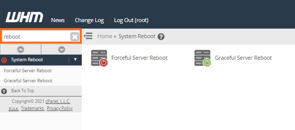 WHM Reboot