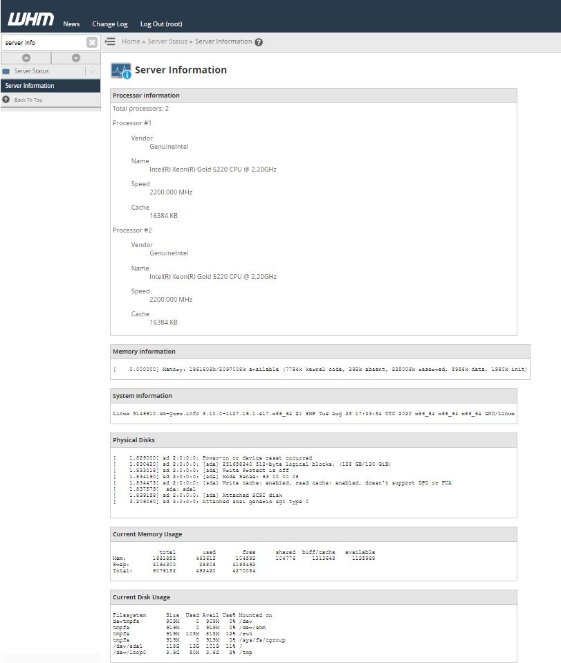 WHM Server Information
