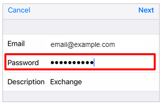Area highlighted to provide password for Office 365 email on iOS