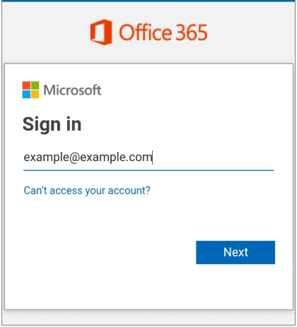 Confirm Sign in email address for Office 365 Android