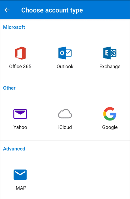 Office 365 Android Choose account type